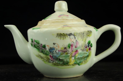 Chinese antique hand-made famille rose porcelain Hand painted figure teapot b02