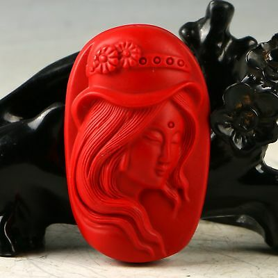 Chinese Exquisite Cinnabar Hand Carved Beauty Pendant  MY1031