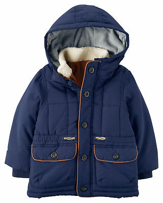 Carter's NEW Navy Blue Tan Baby Boys Size 3T 3-In-One Puffer Jacket $45 517