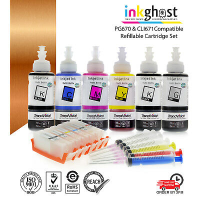Refillable ink cartridge for Canon TS8060 TS9060 PGI670 CLI671 XL updated chip