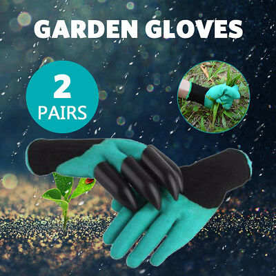 2 Pairs Garden Glove Gloves with Claws Waterproof Gardening Digging Planting