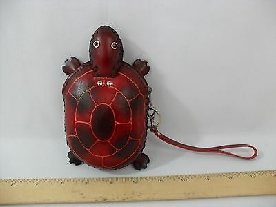 New! Handmade Leather Red Burgandy Turtle Coin Purse - Zipper - Pouch Free Ship