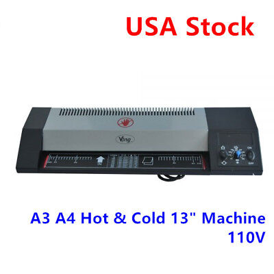 """USA! Steel A3 A4 Hot & Cold 13"""" Thermal Photo Roller Pouch Laminator Machine"""