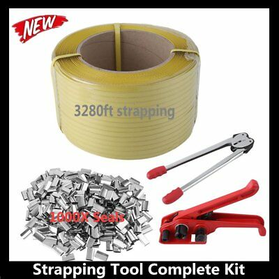 STRAPPING TOOL Complete Kit + Metal Seals + Poly Strap Banding Roll Supply Set A