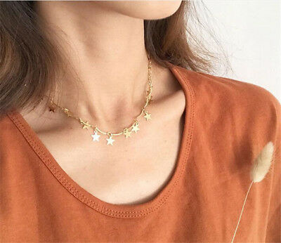 1pcs Simple Metal Gold Silver Plated Star Chain Choker Necklace Women Collars