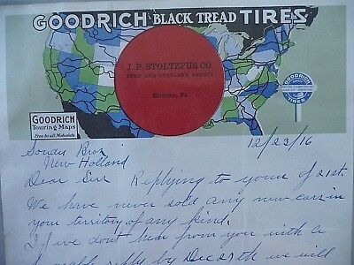 1916 Goodrich Black Tread Tires letter head paper ephemera Souder Bros Dealer