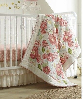 Levtex Baby Charlotte Coral and Cream Floral NWOTS DISPLAY comforter Only