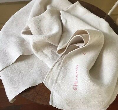 """Vintage French Heavy Linen Extra Large Bath Towel- Monogrammed- 36"""" X63""""!"""