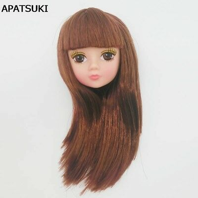 Kids Toy Doll Head For Barbie Doll Brown Hair DIY Doll Accessories For Barbie
