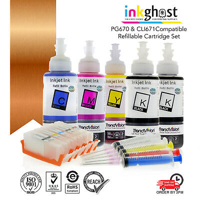 Refillable ink cartridges for Canon MG6865, MG6860, MG5765 code PGI670 CLI671 XL