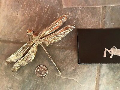 MAURICE MILLEUR Fine Pewter Signed DRAGONFLY Window ORNAMENT with Suction Cup