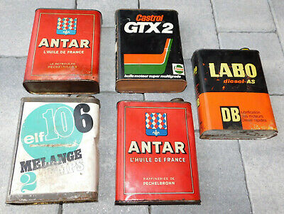 LOT vintage 5 BIDON oil HUILE tin can tank ANTAR castro LABO elf 106 FRANCE car