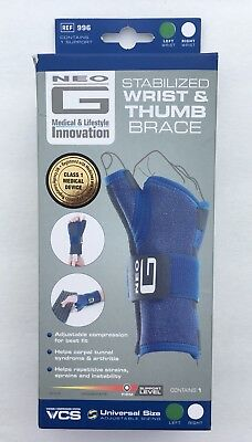 Neo G Stabilized Wrist and Thumb Brace Class 1 Medical Device LEFT Firm Support