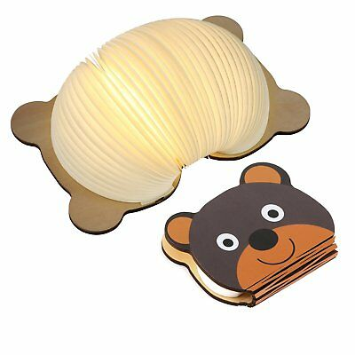 Wooden Book lamp for Kids, Magicfly Bear Style Folding Book Light USB