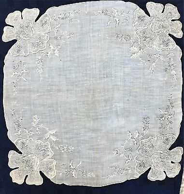 Antique Pulled Lace Embroidery Floral White/grey Linen Bridal Victorian Hanky
