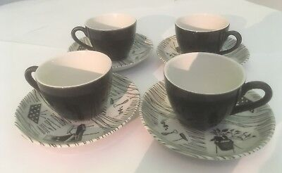 Vintage Ridgway Homemaker RARE x4 Small Coffee Cups & Saucers