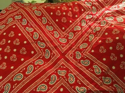 Moprimitivepast 1930s Antique Vintage Red Feedsack Fabric Sewn Skirt Section