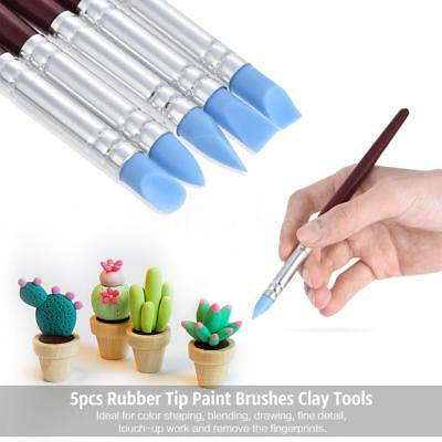 5pcs SiliconeTip Paint Sculpture Pottery Clay Tool Rubber Pen Shaping Wape Paint