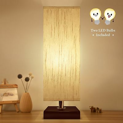 Aooshine Bedside Table Lamp, 2PCS A15 LED Bulb Included, Minimalist Solid Wood