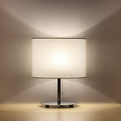 HAITRAL Table Lamp Metal nightstand Lamp with Fabric Shade Bedroom Lamp for