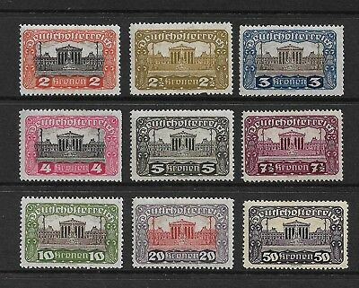 AUSTRIA 1919 Parliament Building, mint set of 9, MH
