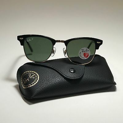 021b77411441a New Ray-Ban Clubmaster Classic LARGE Black RB3016 901 58 51 POLARIZED Green  G