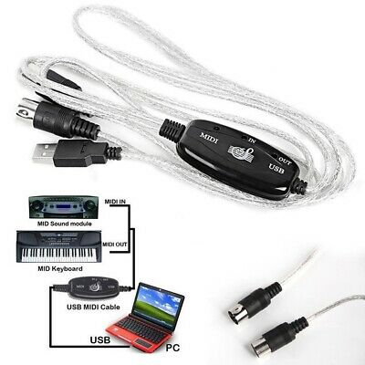 Midi USB Cable Converter Lead Adaptor Keyboard Interface to PC for Mac Windows