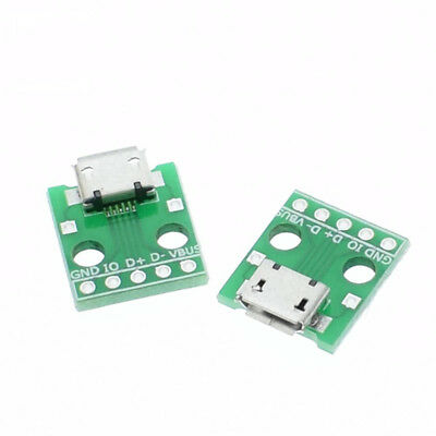 2pcs MICRO USB to DIP Adapter 5pin female connector B type pcb converter