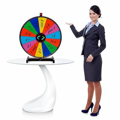 """24"""" Heavy Duty Tabletop Spinning Prize Wheel 14 Slots Color With Dry Erase AS"""