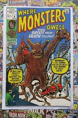 WHERE MONSTERS DWELL #6 - NOV 1970 - REPRINTS 1st GROOT APPEARANCE! - VFN- (7.5)