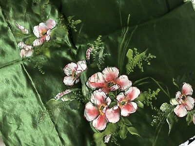 Gorgeous Antique Vintage C.1900 Hand Painted Flowers On Cotton Sateen Fabric