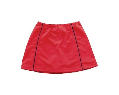 Girls/Ladies Tennis Skort  - Red with Navy trim detail