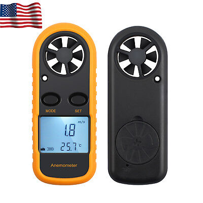 Temperature Gauge LCD Digital Anemometer  Air Wind Speed Mete Tester Thermometer