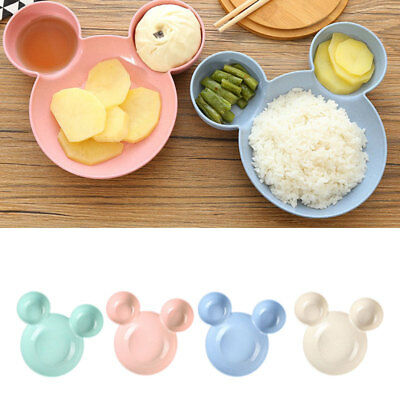 Wheat Straw Plate Dishes Tableware Kids Baby Salad Breakfast Lunch Dinner