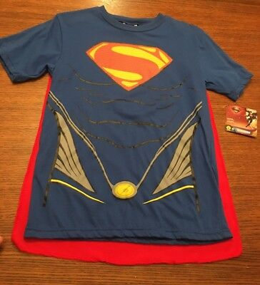 NWT Superman Blue T Shirt with Removable Cape Size S Small Rubies Costumes Child