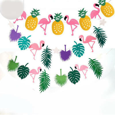 Tropical Hawaii Cocunut Leaves Flamingo Garland Bunting Banner Decoration