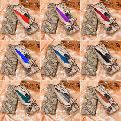 Luxury Colorful Feather Bullet Pen Book Tip Signing Long Pen Quill Silver Pen
