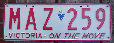 License Plate Number Plate VIC Red on White On The Move  MAZ 259