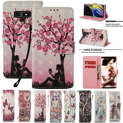 Samsung S9 S8 Plus S7 Note 9 Painted Leather Flip Stand Card Wallet Case Cover
