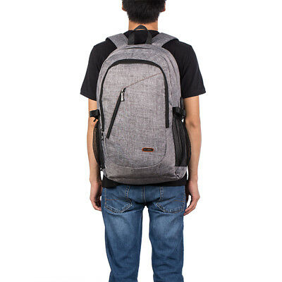 15.6 Inch Laptop Bag Backpack Rucksack Outdoor Travel Pack With USB Port Grey