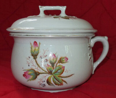 Antique Etruria Pottery Co. MOSS ROSE White Ironstone CHAMBER POT w/ Lid