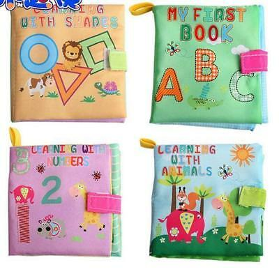 4pcs Baby Infant Early Learning Education Animal Number Letter Soft Cloth Books