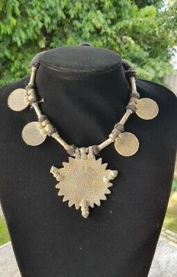 Heavy Tribal Indian Coin & Talisman Necklace Jewellery  .H55