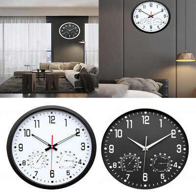 35cm Silent Wall Metal Clock Thermometer Hygrometer Quiet Sweep Movement 3 Color
