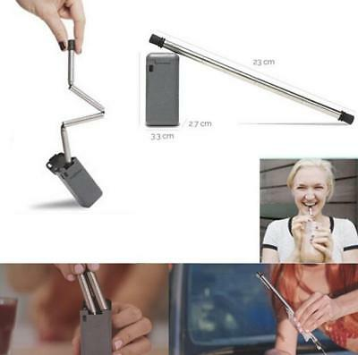 New Useful Collapsible Reusable Portable Stainless Travel Holiday Outdoor Straw