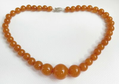 Old Natural Pressed Baltic Amber Round beads Short Necklace