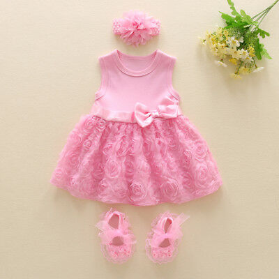 Infant baby girls clothes party dress+headband+shoes Tutu dress baby photo props