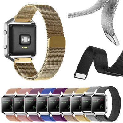 Magnetic Milanese Stainless Steel Wrist Band Strap/Metal Frame For Fitbit Blaze