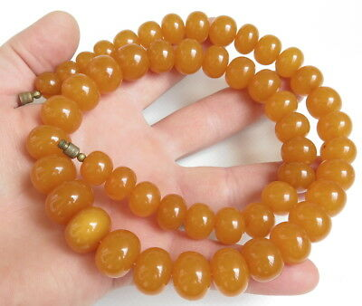 Antique Natural Pressed Baltic Amber  beads Necklace