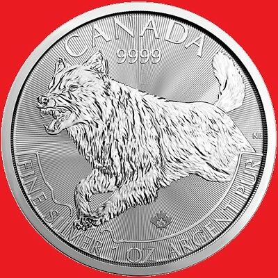 2018 1oz Silver Canadian Wolf (Predator Series) 1 Ounce Bullion Coin.